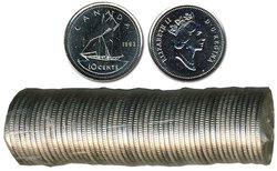 10 CENTS -  ROULEAU ORIGINAL DE 10 CENTS 1993 -  PIÈCES DU CANADA 1993