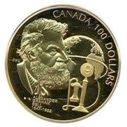 100 DOLLARS -  150E ANNIVERSAIRE DE LA NAISSANCE D'ALEXANDER GRAHAM BELL -  PIÈCES DU CANADA 1997 22