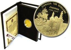 100 DOLLARS -  275E ANNIVERSAIRE DE LA FONDATION DE LOUISBOURG -  PIÈCES DU CANADA 1995 20