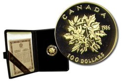 100 DOLLARS -  ANNÉE INTERNATIONALE DE LA PAIX -  PIÈCES DU CANADA 1986 11