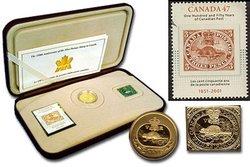 150E ANNIVERSAIRE DU PREMIER TIMBRE-POSTE CANADIEN -  PIÈCES DU CANADA 2001
