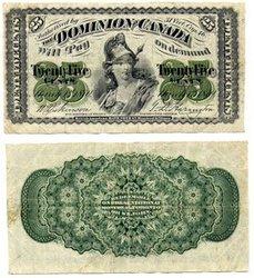 1870 -  25 CENTS EN PAPIER 1870, DICKINSON/HARINGTON (EF)