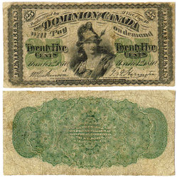 1870 -  25 CENTS EN PAPIER 1870, DICKINSON/HARINGTON (F)