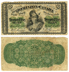 1870 -  25 CENTS EN PAPIER 1870, DICKINSON/HARINGTON (G)