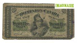 1870 -  25 CENTS EN PAPIER 1870, DICKINSON/HARINGTON (G)