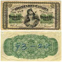 1870 -  25 CENTS EN PAPIER 1870, DICKINSON/HARINGTON (VF)