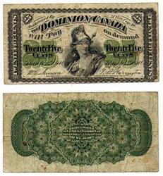 1870 -  25 CENTS EN PAPIER 1870, DICKINSON/HARINGTON (VF)