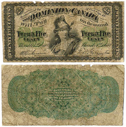 1870 -  25 CENTS EN PAPIER 1870, DICKINSON/HARINGTON (VG)