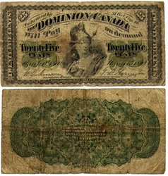 1870 -  25 CENTS EN PAPIER 1870, DICKINSON/HARINGTON (VG)