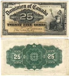 1900 -  25 CENTS PAPIER 1900, COURTNEY (EF)