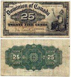 1900 -  25 CENTS PAPIER 1900, COURTNEY (VF)