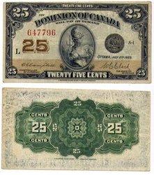 1923 -  25 CENTS EN PAPIER 1923, CAMPBELL/CLARK (EF)
