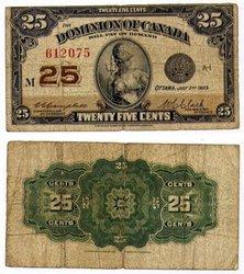 1923 -  25 CENTS EN PAPIER 1923, CAMPBELL/CLARK (F)