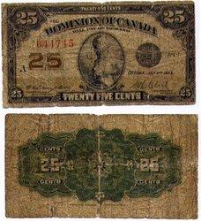 1923 -  25 CENTS EN PAPIER 1923, CAMPBELL/CLARK (G)