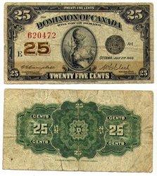 1923 -  25 CENTS EN PAPIER 1923, CAMPBELL/CLARK (VF)