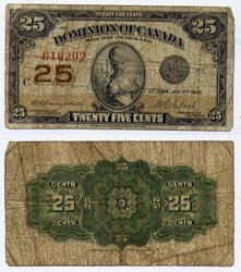 1923 -  25 CENTS EN PAPIER 1923, CAMPBELL/CLARK (VG)