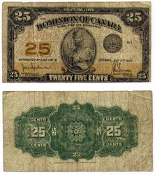 1923 -  25 CENTS EN PAPIER 1923, HYNDMAN/SAUNDERS (VG)