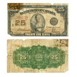 1923 -  25 CENTS EN PAPIER 1923, MCCAVOUR/SAUNDERS (AG)