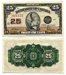1923 -  25 CENTS EN PAPIER 1923, MCCAVOUR/SAUNDERS (AU)
