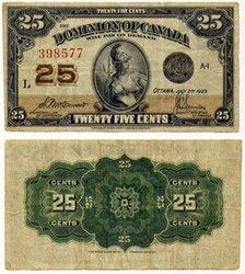 1923 -  25 CENTS EN PAPIER 1923, MCCAVOUR/SAUNDERS (EF)