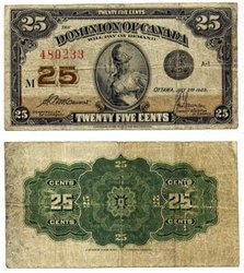 1923 -  25 CENTS EN PAPIER 1923, MCCAVOUR/SAUNDERS (F)