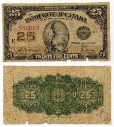 1923 -  25 CENTS EN PAPIER 1923, MCCAVOUR/SAUNDERS (G)