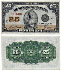 1923 -  25 CENTS EN PAPIER 1923, MCCAVOUR/SAUNDERS (UNC)