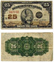 1923 -  25 CENTS EN PAPIER 1923, MCCAVOUR/SAUNDERS (VF)