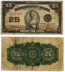 1923 -  25 CENTS EN PAPIER 1923, MCCAVOUR/SAUNDERS (VG)