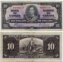 1937 -  10 DOLLARS 1937, COYNE/TOWERS (EF)