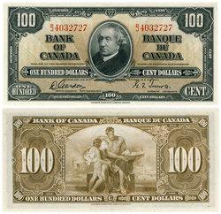 1937 -  100 DOLLARS 1937, GORDON/TOWERS (UNC)