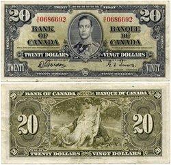 1937 -  20 DOLLARS 1937, GORDON/TOWERS (EF)