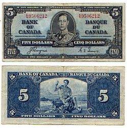 1937 -  5 DOLLARS 1937, COYNE/TOWERS (VF)