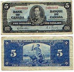 1937 -  5 DOLLARS 1937, GORDON/TOWERS (VF)