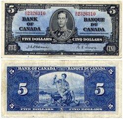 1937 -  5 DOLLARS 1937, OSBORNE/TOWERS (VF)