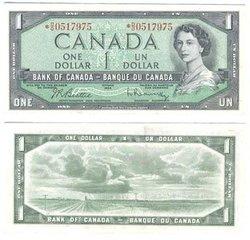 1954 - PORTRAIT MODIFIE -  1 DOLLAR 1954, BEATTIE/RASMINSKY (EF)