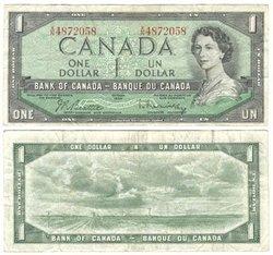 1954 - PORTRAIT MODIFIE -  1 DOLLAR 1954, BEATTIE/RASMINSKY (F)