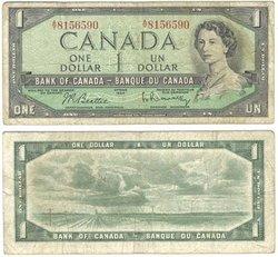 1954 - PORTRAIT MODIFIE -  1 DOLLAR 1954, BEATTIE/RASMINSKY (VG)