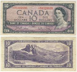 1954 - PORTRAIT MODIFIE -  10 DOLLARS 1954, BEATTIE/RASMINSKY (F)