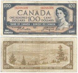 1954 - PORTRAIT MODIFIE -  100 DOLLARS 1954, BEATTIE/COYNE (VG)