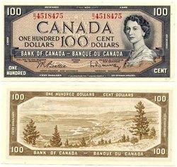 1954 - PORTRAIT MODIFIE -  100 DOLLARS 1954, BEATTIE/RASMINSKY (AU)