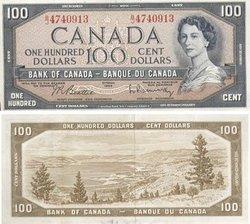 1954 - PORTRAIT MODIFIE -  100 DOLLARS 1954, BEATTIE/RASMINSKY (EF)