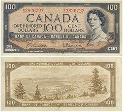 1954 - PORTRAIT MODIFIE -  100 DOLLARS 1954, BEATTIE/RASMINSKY (F)