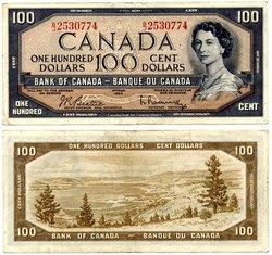 1954 - PORTRAIT MODIFIE -  100 DOLLARS 1954, BEATTIE/RASMINSKY (VF)