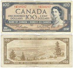 1954 - PORTRAIT MODIFIE -  100 DOLLARS 1954, BEATTIE/RASMINSKY (VG)