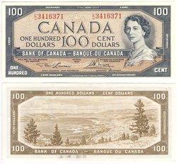 1954 - PORTRAIT MODIFIE -  100 DOLLARS 1954, LAWSON/BOUEY (UNC)