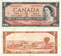 1954 - PORTRAIT MODIFIE -  2 DOLLARS 1954, BEATTIE/RASMINSKY (F)