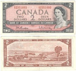 1954 - PORTRAIT MODIFIE -  2 DOLLARS 1954, BEATTIE/RASMINSKY (VF)