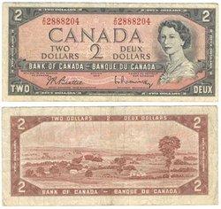 1954 - PORTRAIT MODIFIE -  2 DOLLARS 1954, BEATTIE/RASMINSKY (VG)