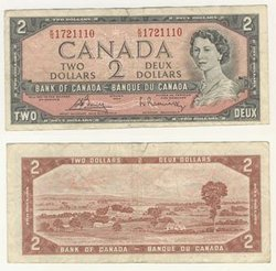 1954 - PORTRAIT MODIFIE -  2 DOLLARS 1954, BOUEY/RASMINSKY (VG)